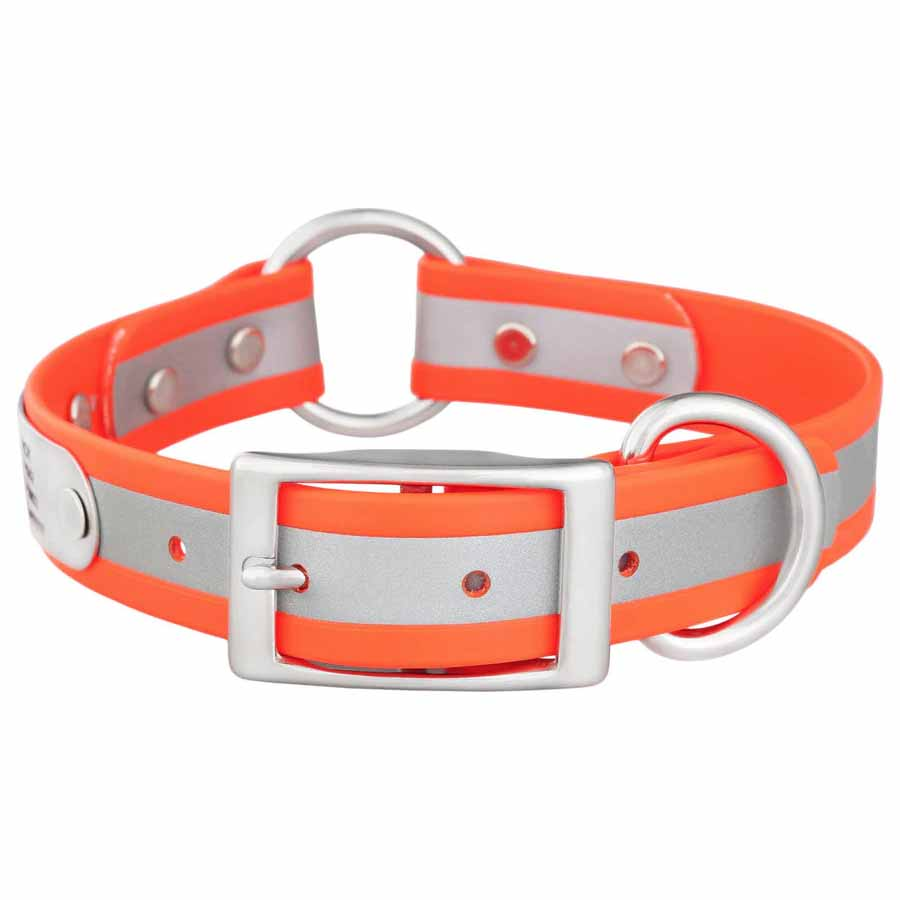 Personalized Waterproof Reflective Safety Dog Collar Orange Buckle View
