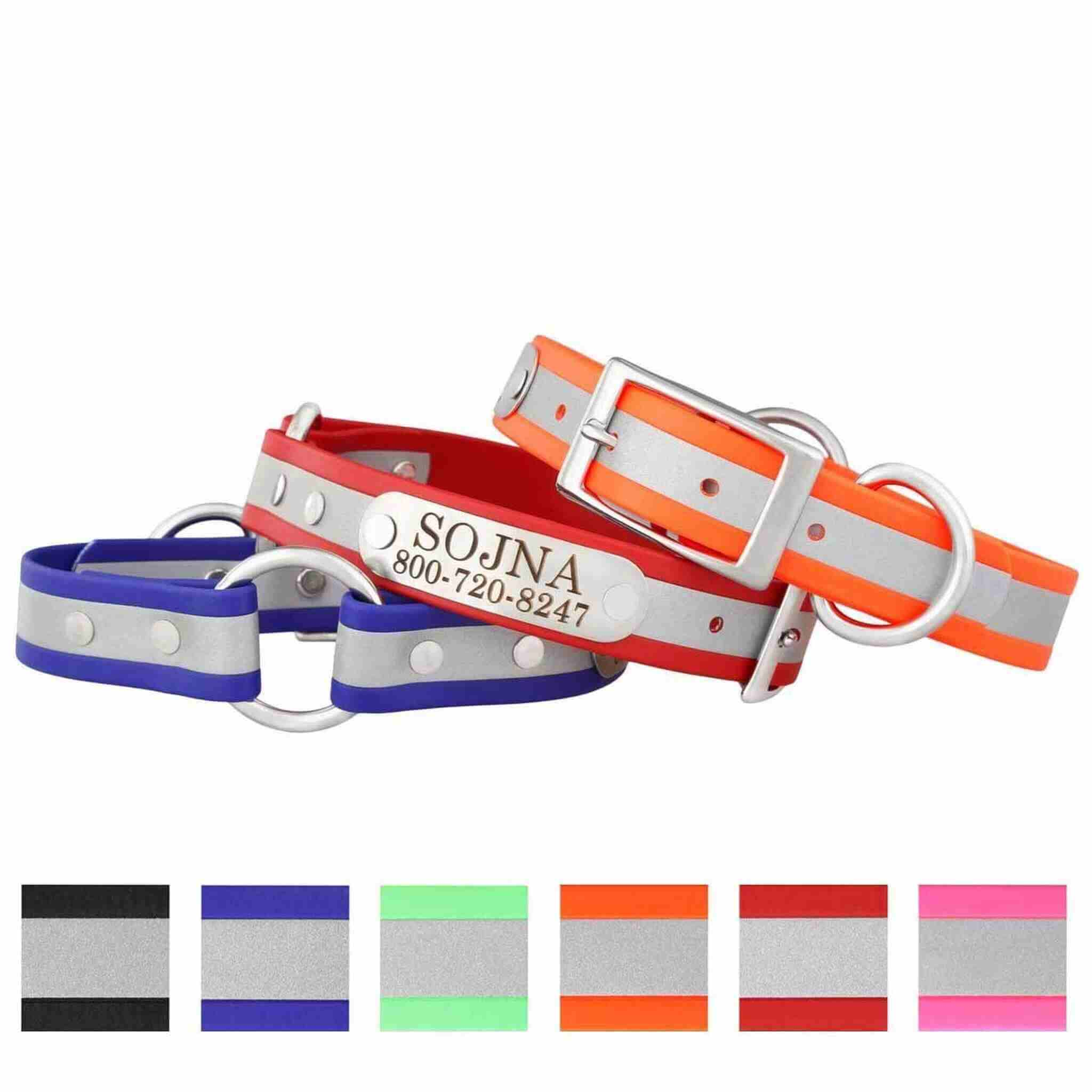 Personalized Waterproof Reflective Safety Dog Collars