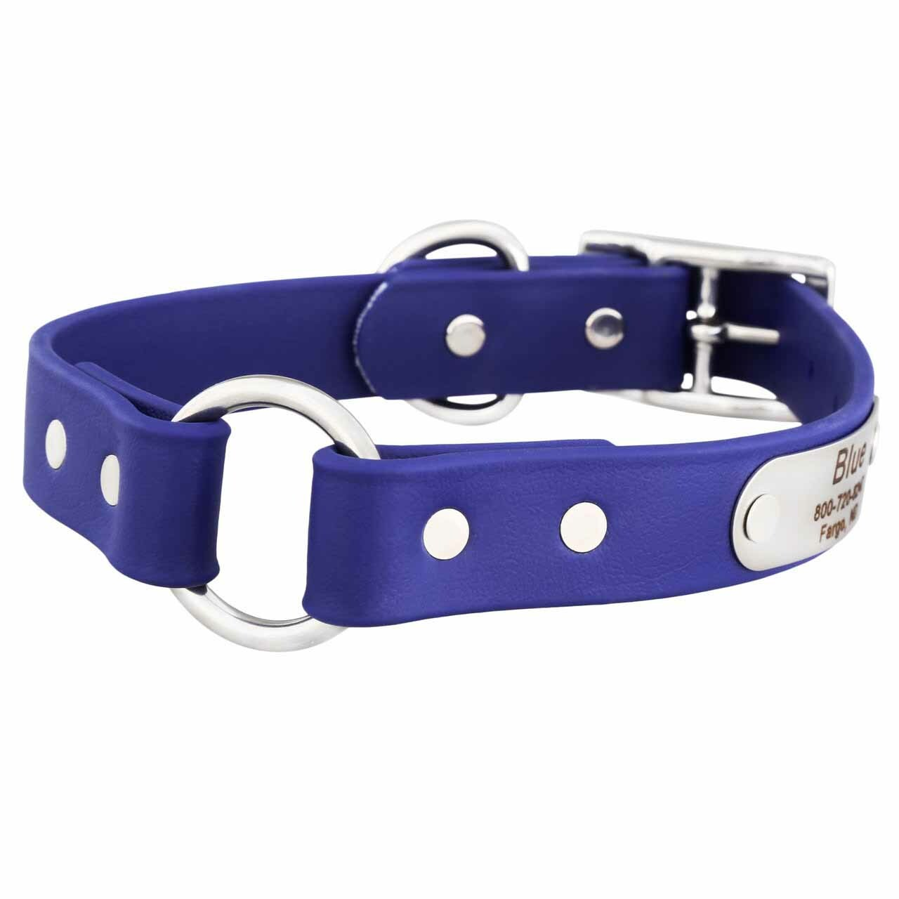 Waterproof Safety Collar with Personalized Nameplate Blue