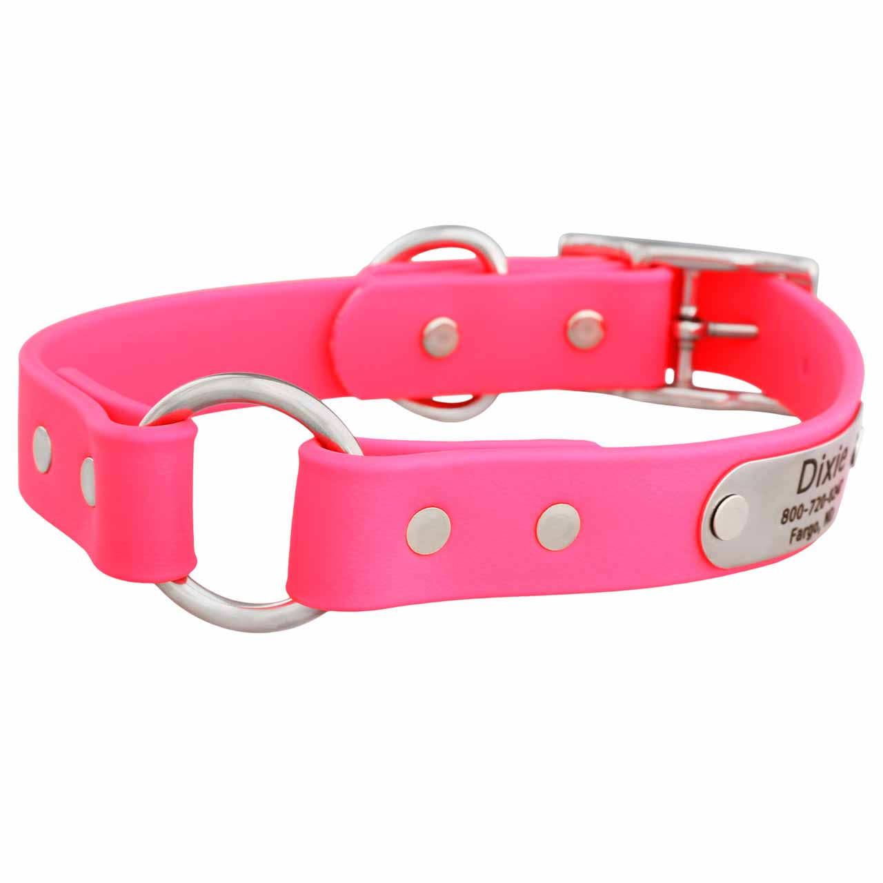 Waterproof Safety Collar with Personalized Nameplate Pink