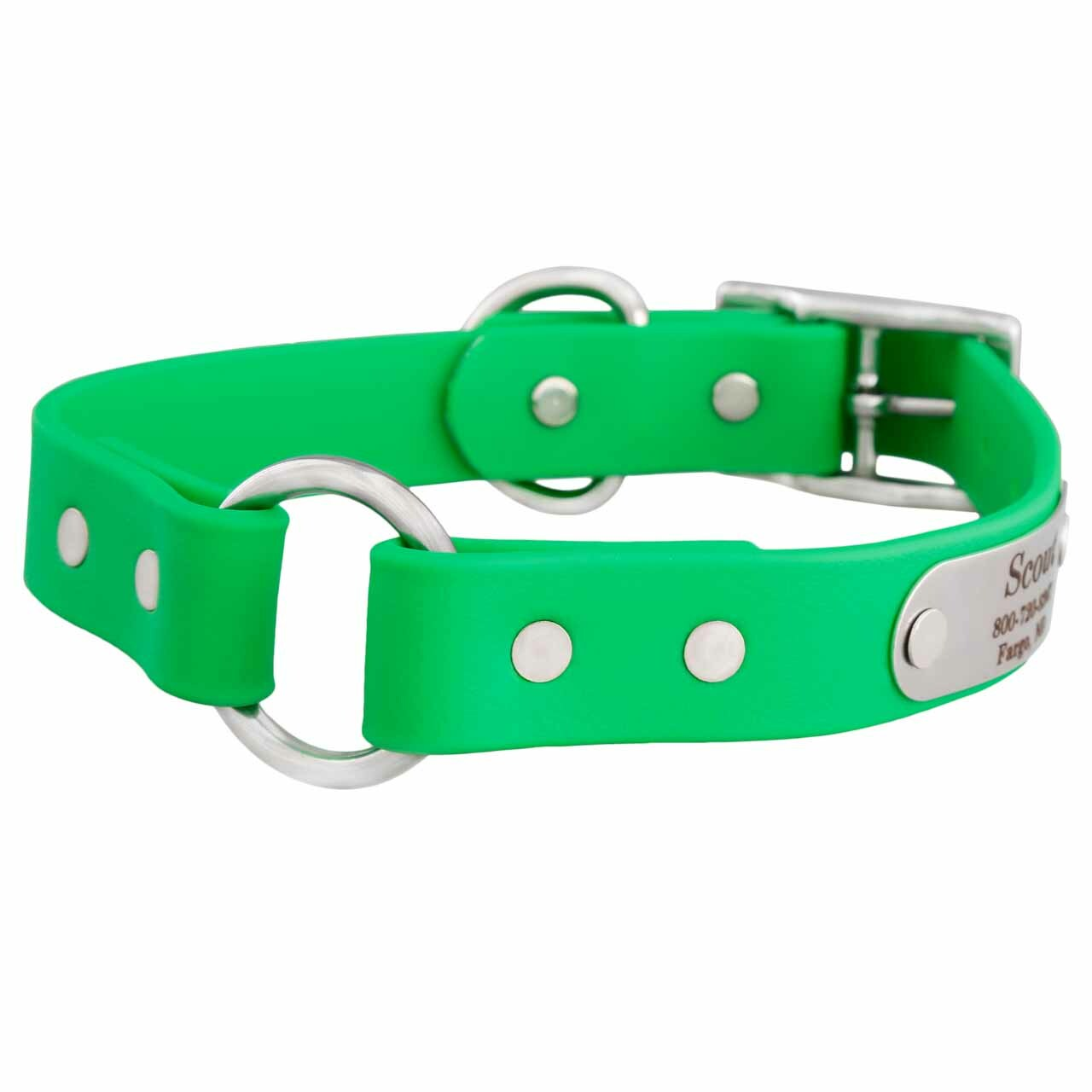 Waterproof Safety Collar with Personalized Nameplate Green