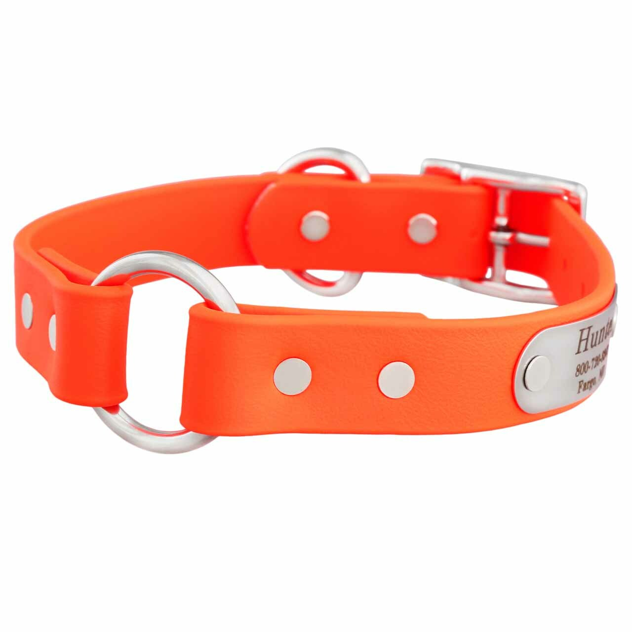 Waterproof Safety Collar with Personalized Nameplate Orange