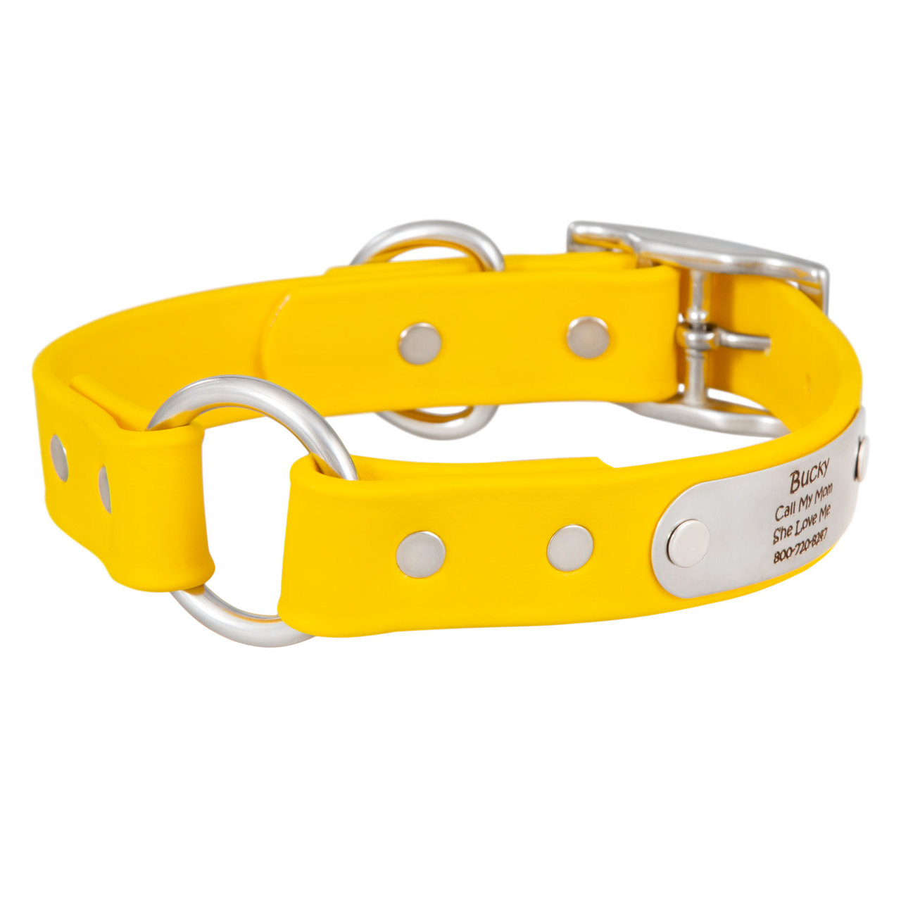 Waterproof Safety Collar with Personalized Nameplate Yellow