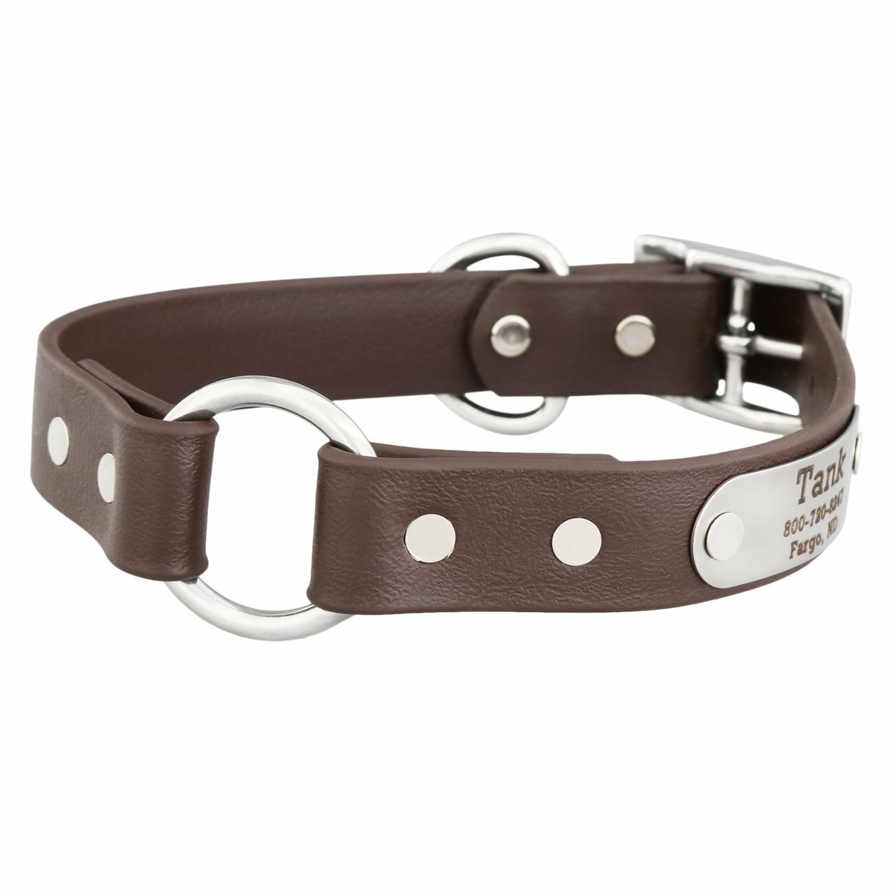 Waterproof Safety Collar with Personalized Nameplate Brown