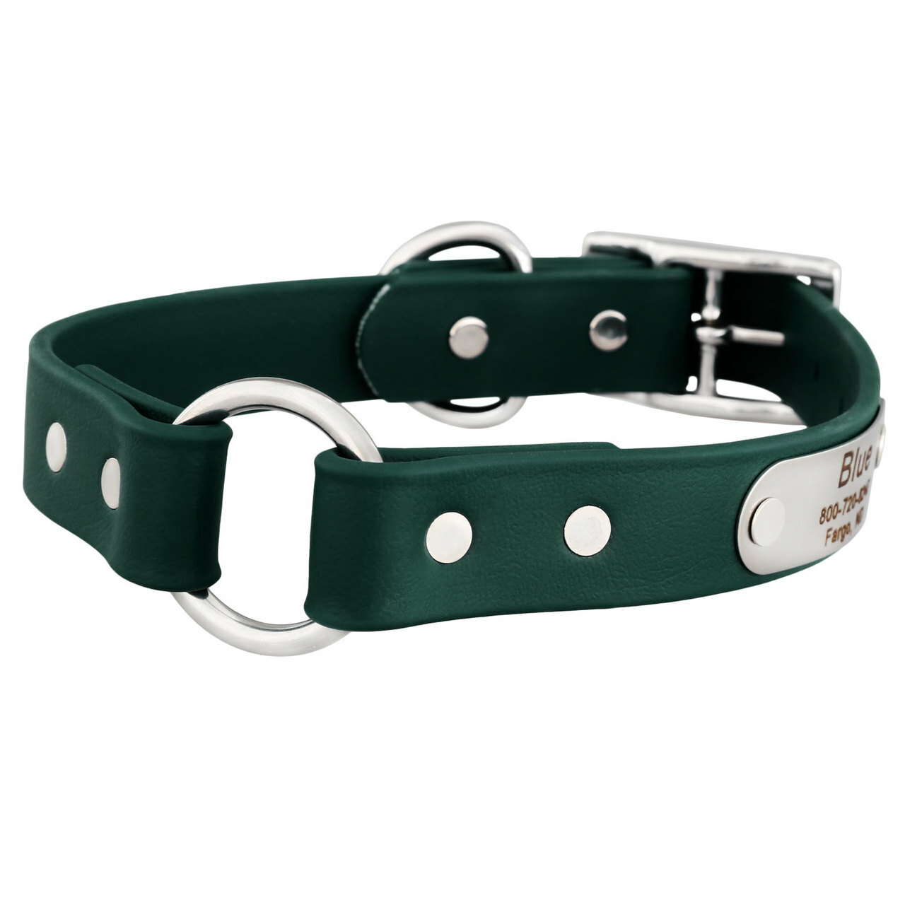 Waterproof Safety Collar with Personalized Nameplate Hunter Green