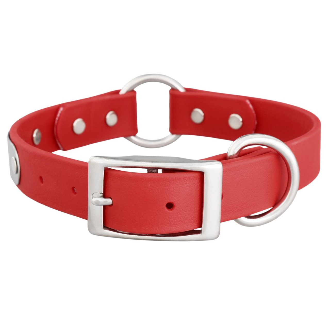 Waterproof Safety Collar with Personalized Nameplate Red Buckle View