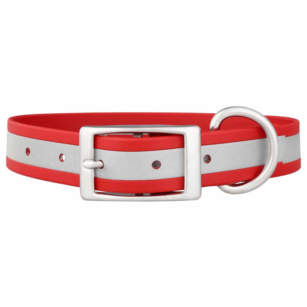 Reflective Waterproof Soft Grip Dog Collar with Nameplate Red Buckle Side