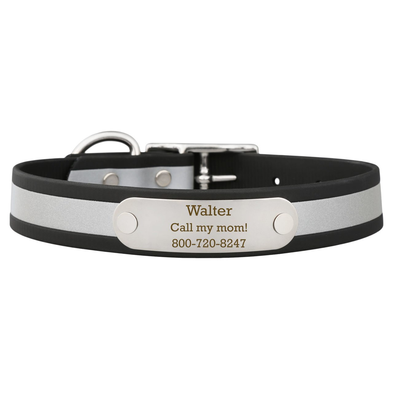 Reflective Waterproof Soft Grip Dog Collar with Nameplate Black