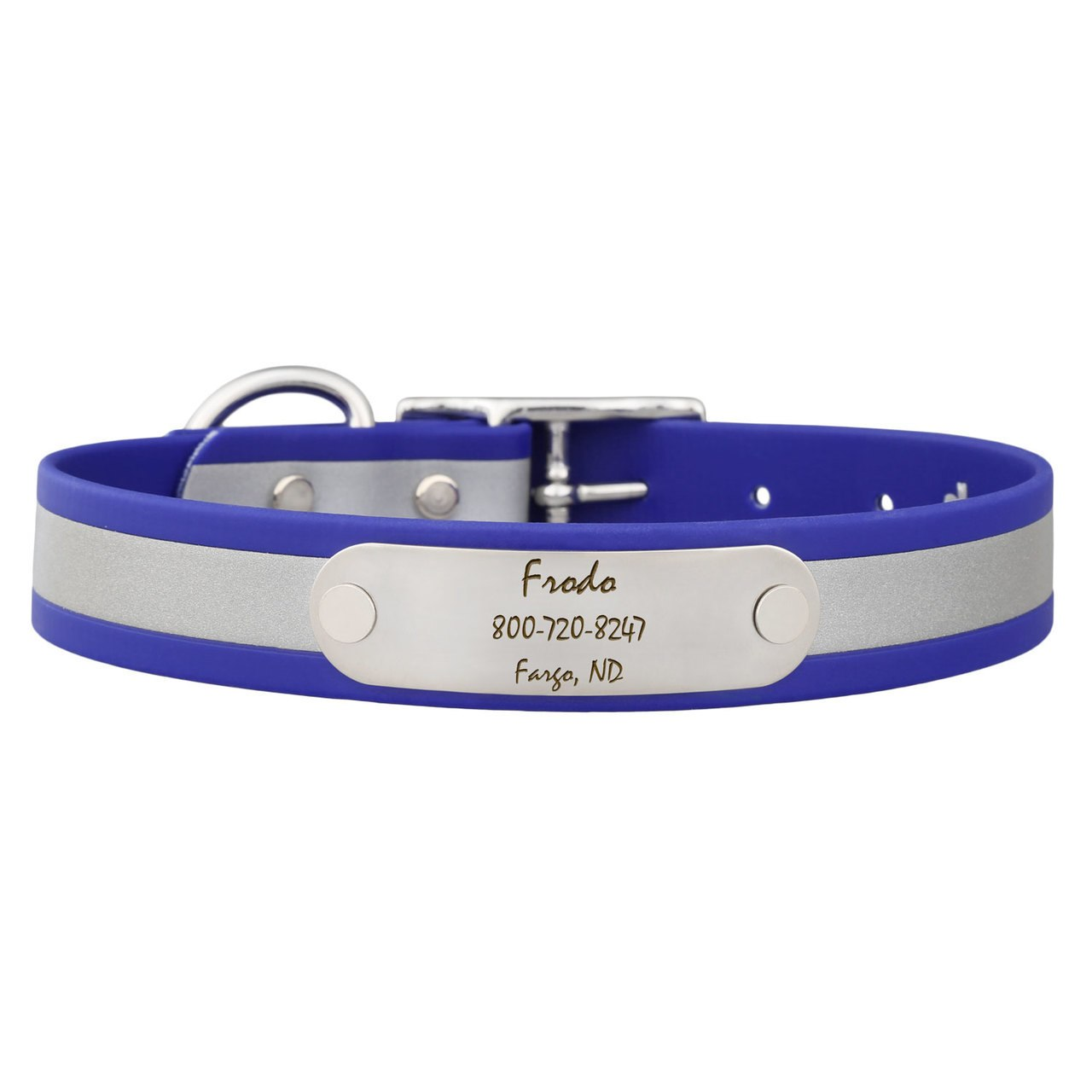 Reflective Waterproof Soft Grip Dog Collar with Nameplate Blue