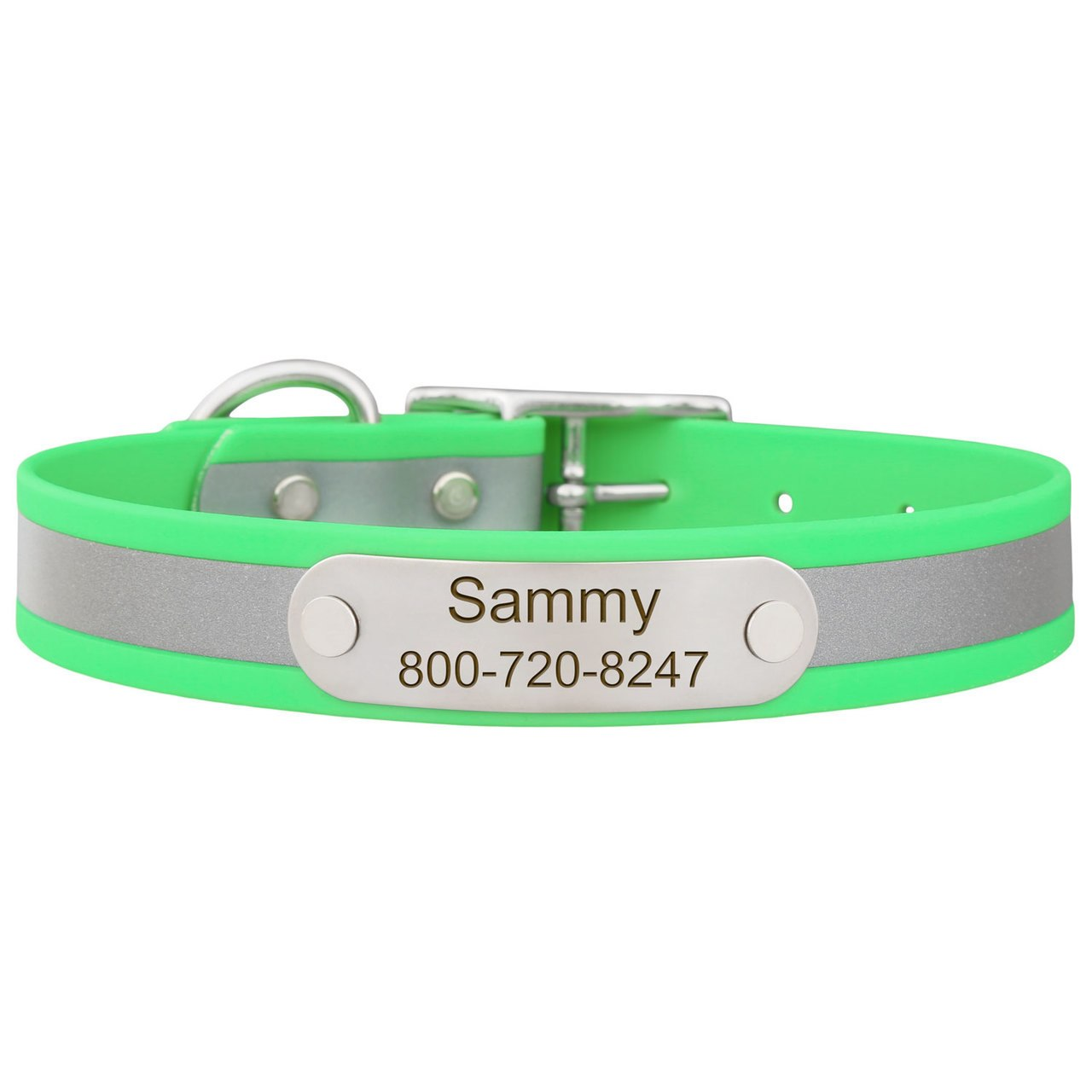 Reflective Waterproof Soft Grip Dog Collar with Nameplate Green