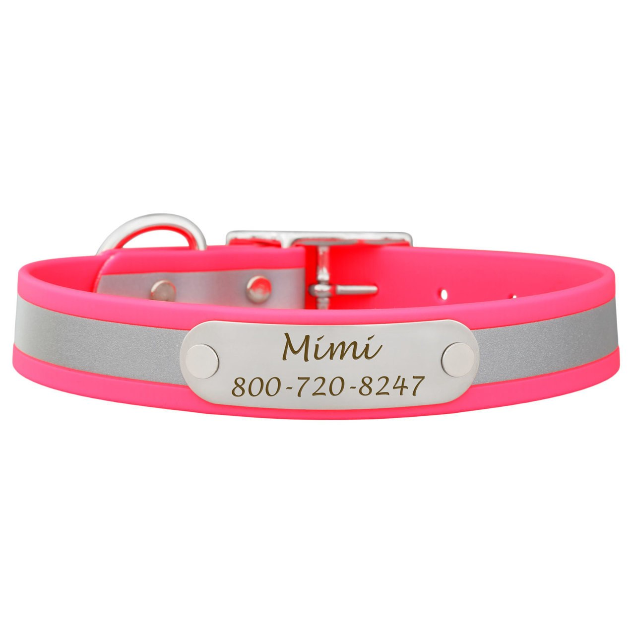 Reflective Waterproof Soft Grip Dog Collar with Nameplate Pink