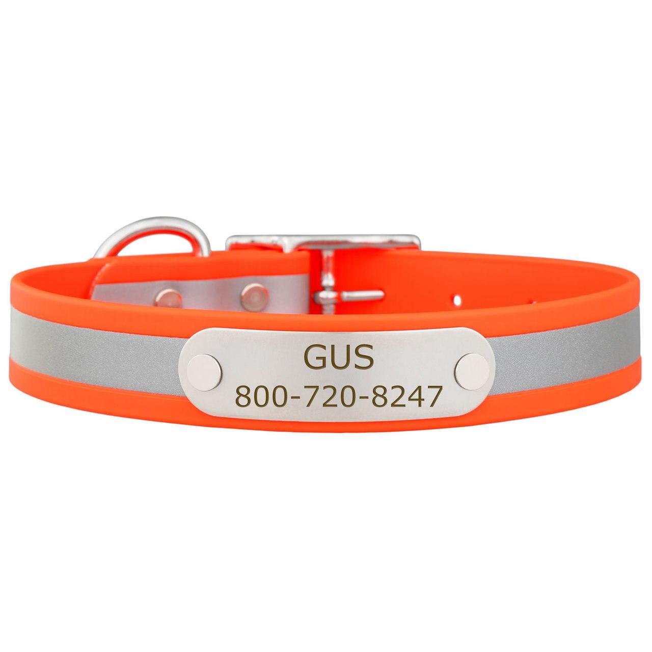 Reflective Waterproof Soft Grip Dog Collar with Nameplate Orange
