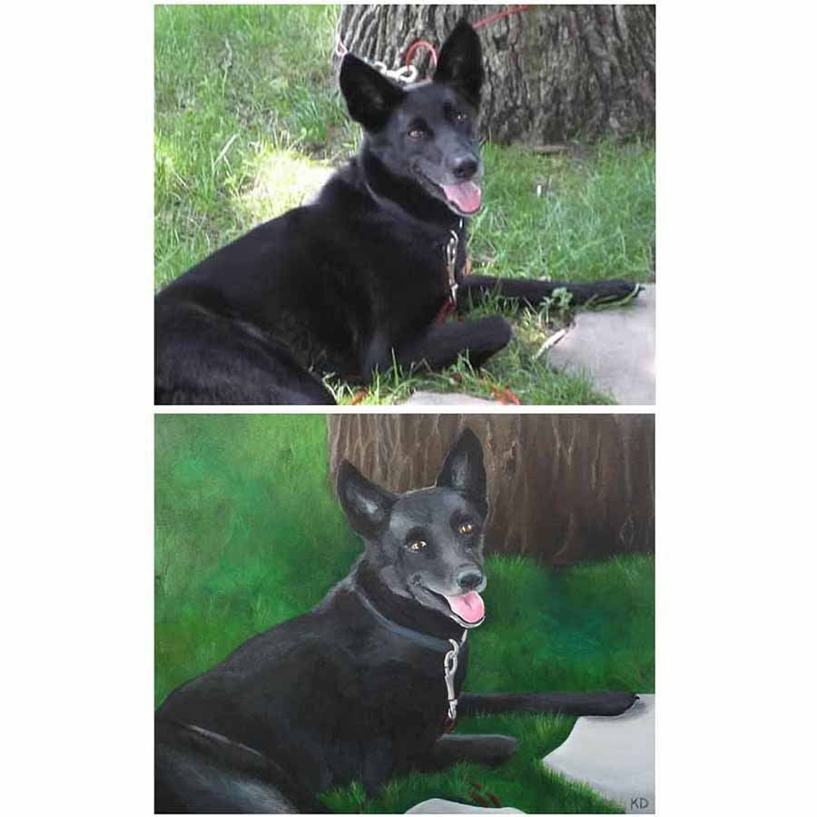 Hand-Painted Custom Pet Portrait and Photo Comparison 3