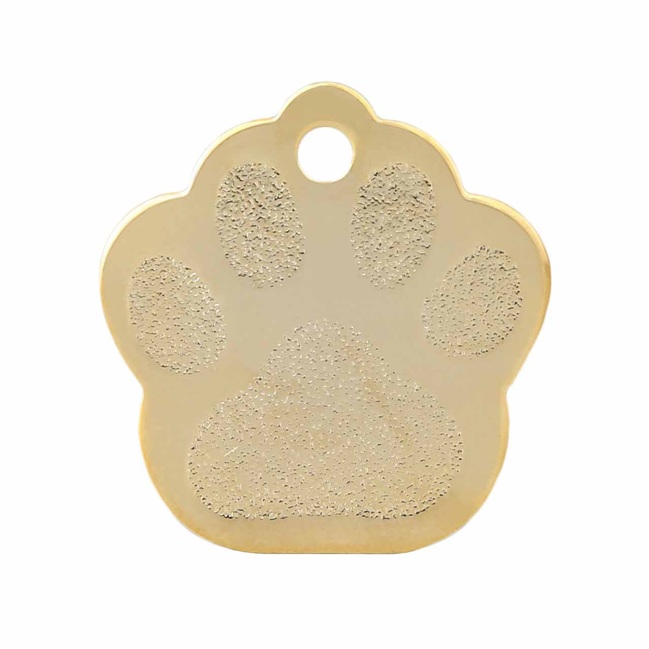 Paw Dog ID Tags - Gold Plated Brass