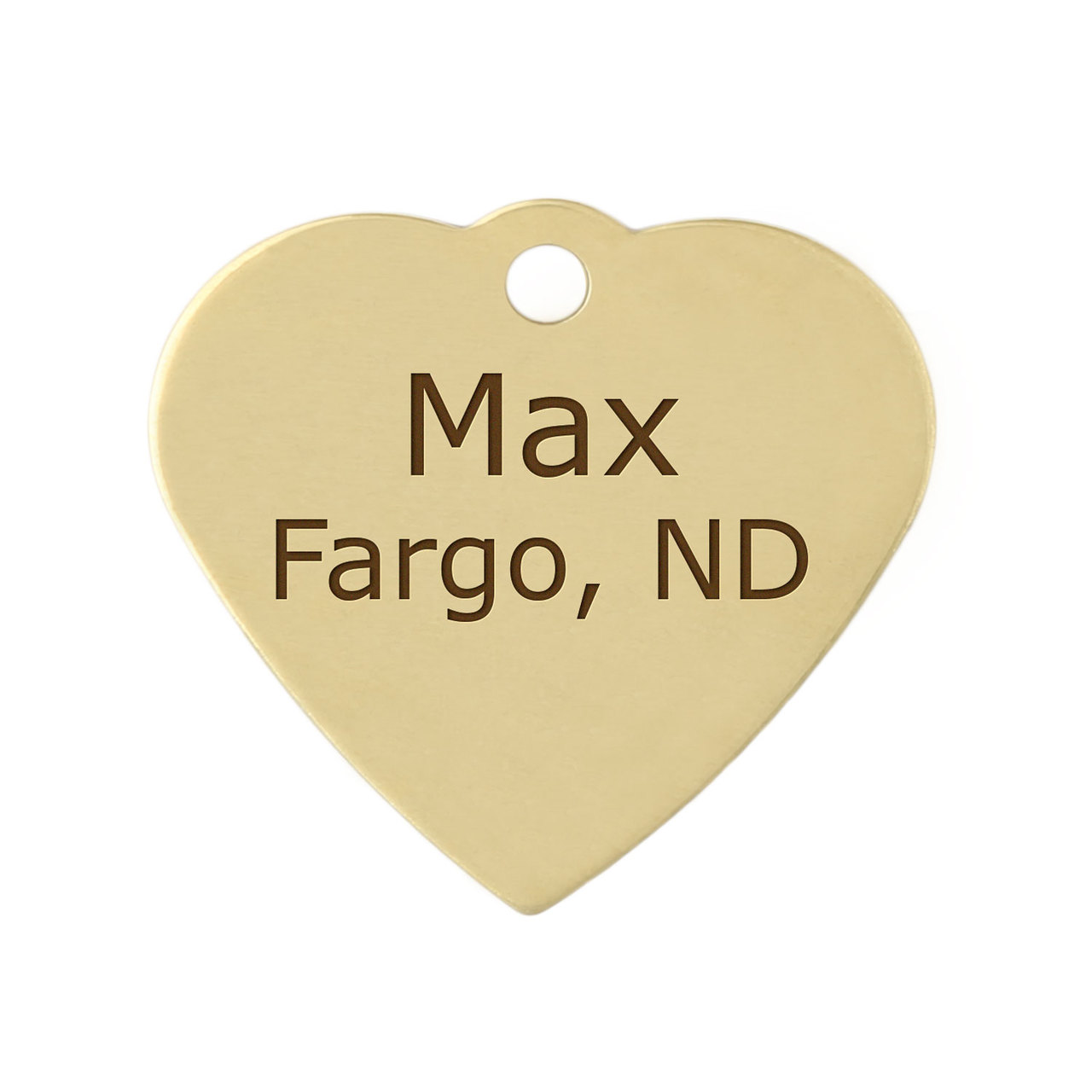 Heart Dog ID Tag - Brass
