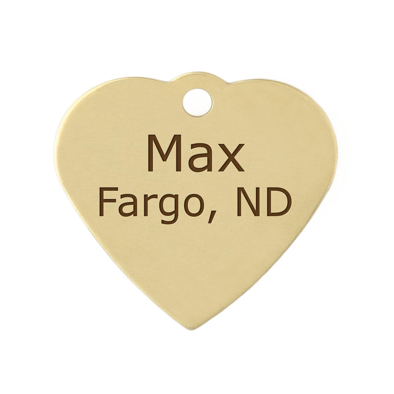 Heart Dog ID Tag - Brass