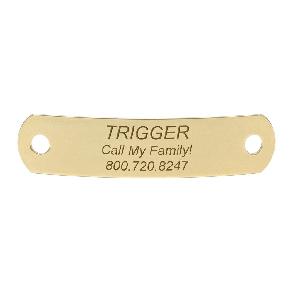 Rivet-On Dog Collar Name Plate Medium Solid Brass