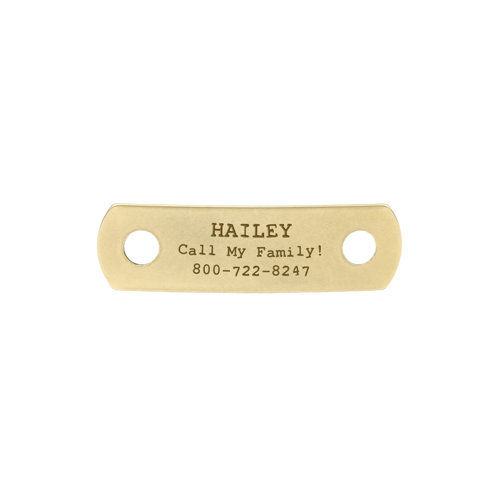 Rivet-On Dog Collar Name Plate Small Solid Brass