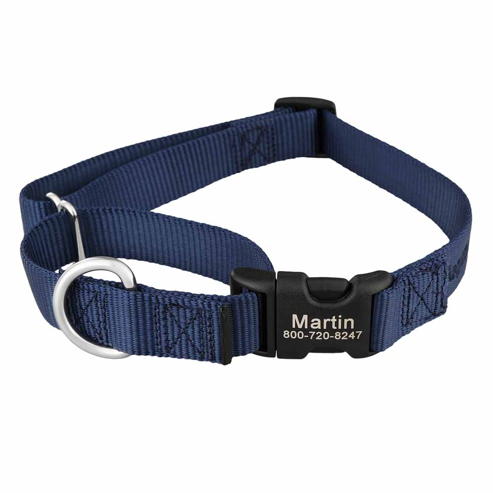 Martingale Dog Collar with Personalized Buckle Navy Blue