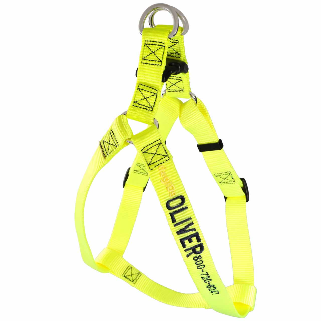 Embroidered Nylon Step-In Dog Harness Yellow