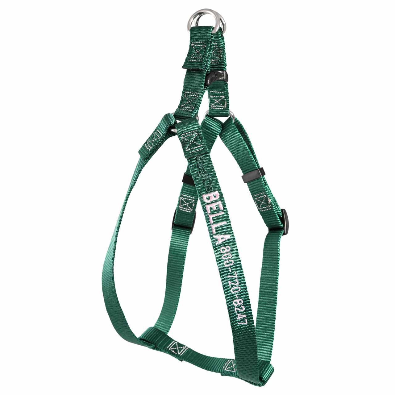 Embroidered Nylon Step-In Dog Harness Hunter Green