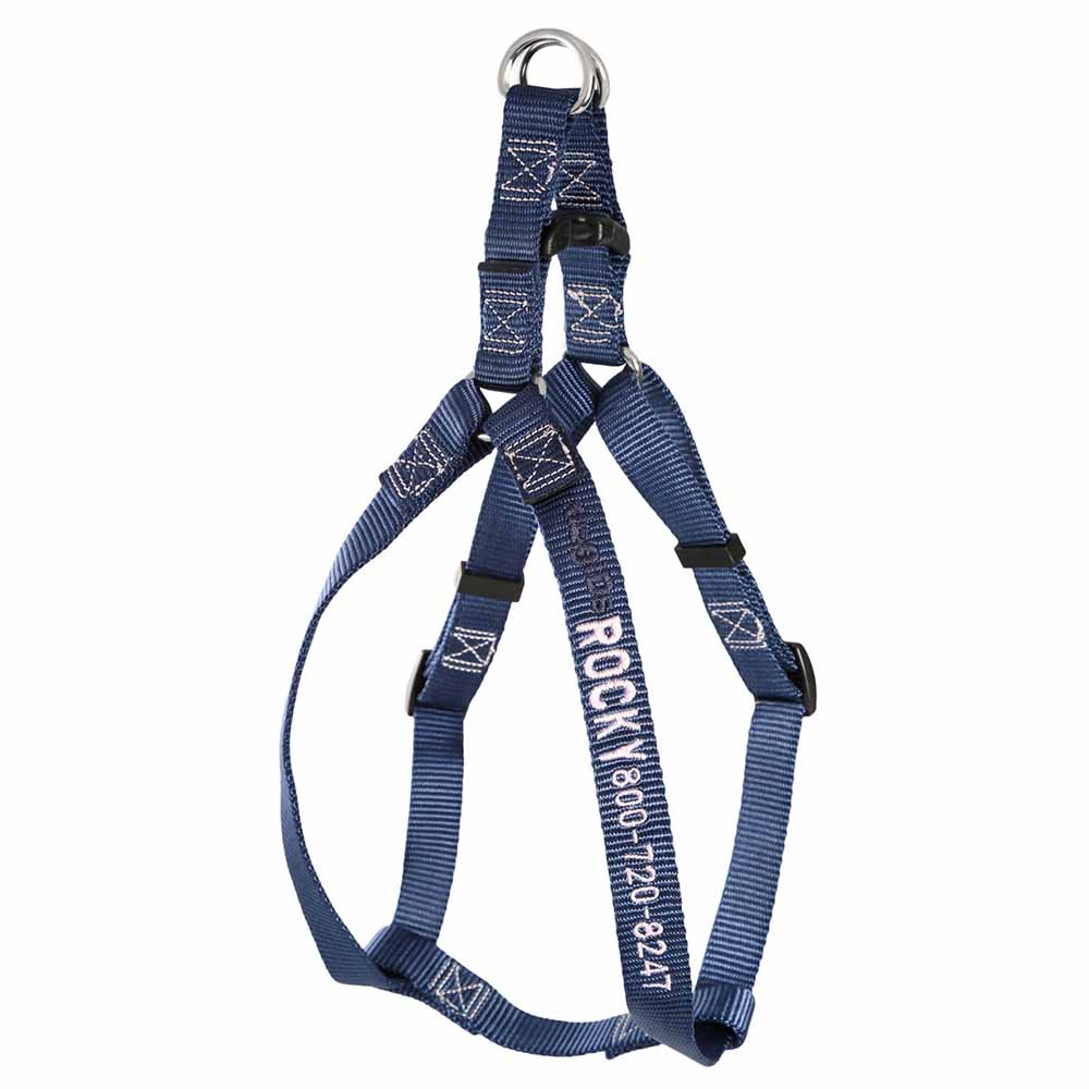 Embroidered Nylon Step-In Dog Harness Navy Blue