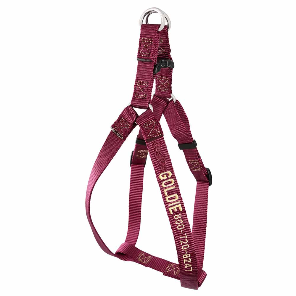 Embroidered Nylon Step-In Dog Harness Burgundy