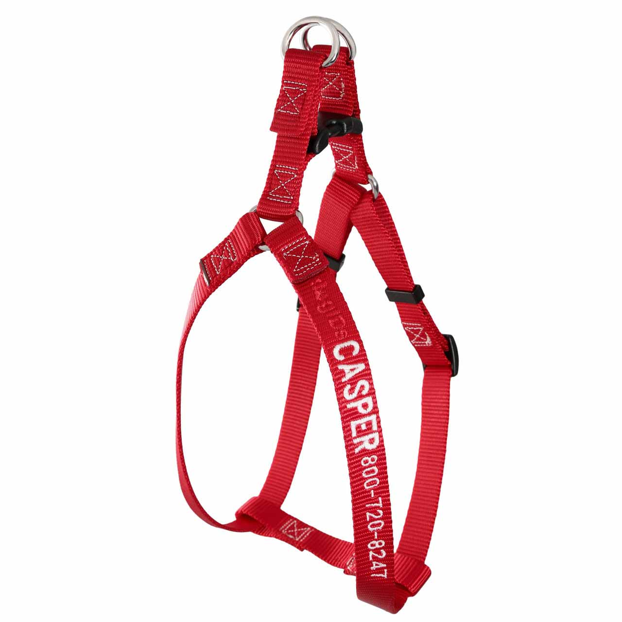 Embroidered Nylon Step-In Dog Harness Red
