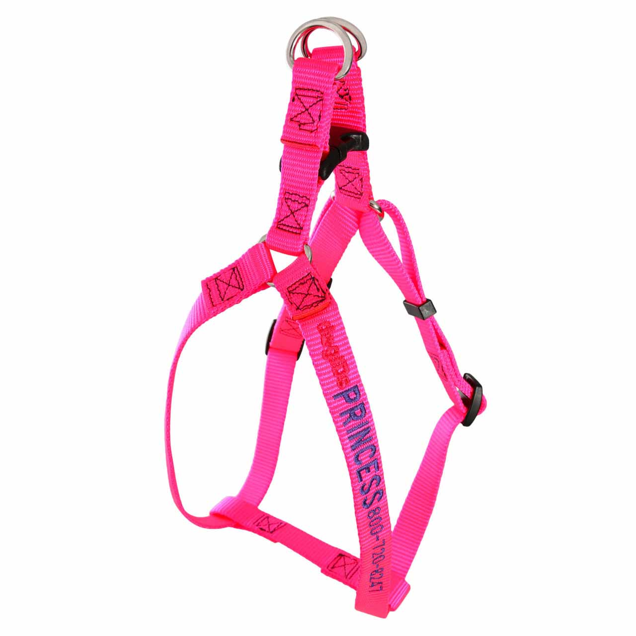 Embroidered Nylon Step-In Dog Harness Hot Pink
