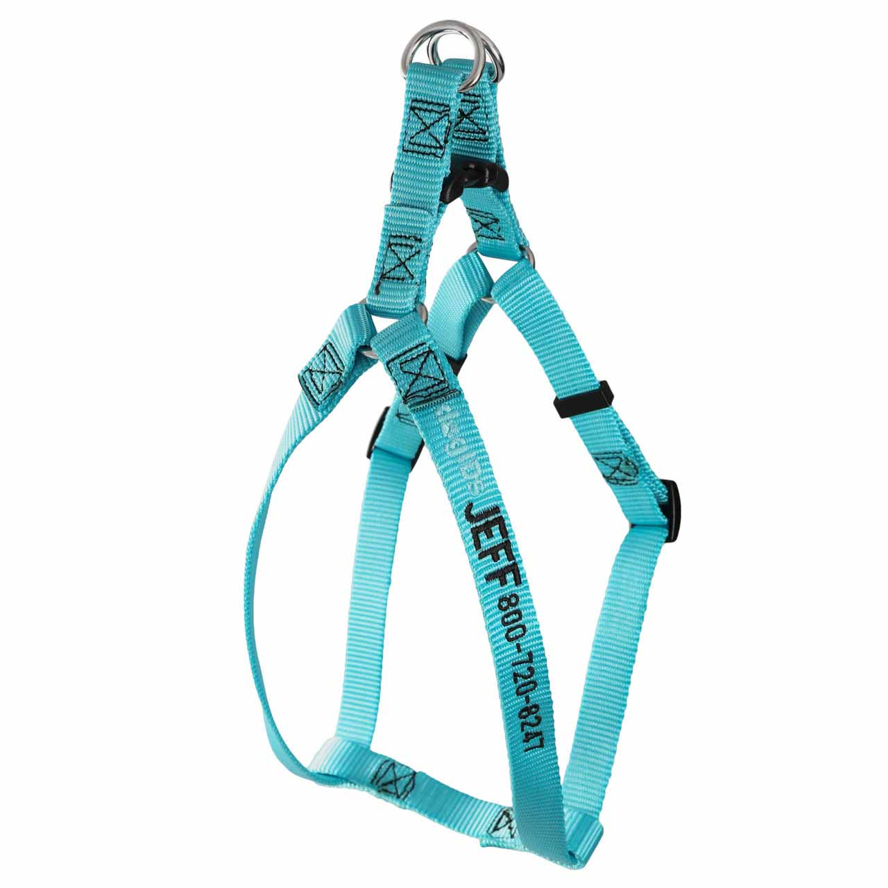 Embroidered Nylon Step-In Dog Harness Turquoise