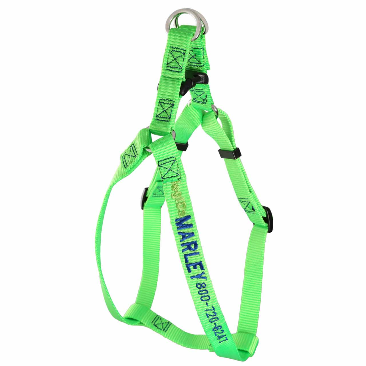 Embroidered Nylon Step-In Dog Harness Lime Green