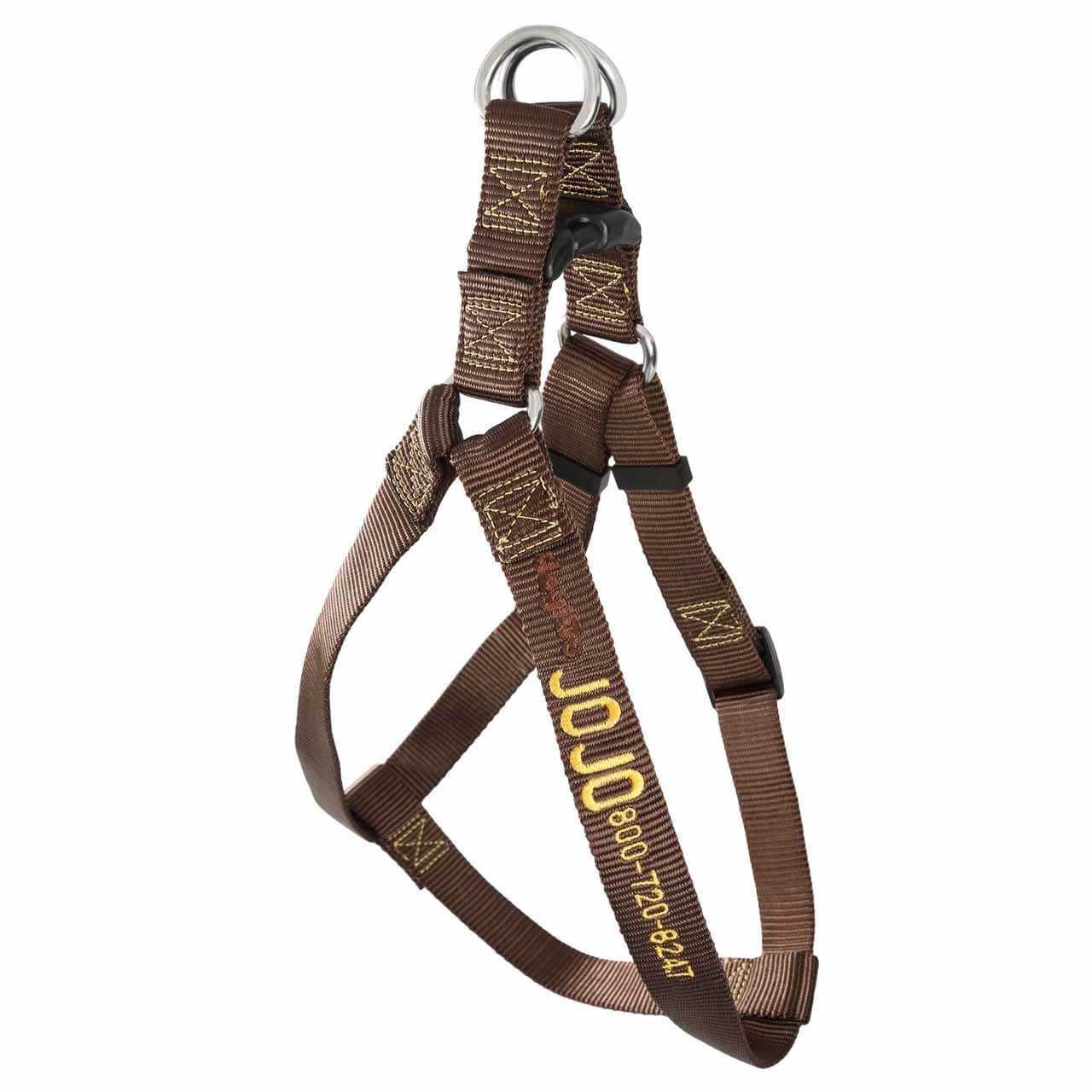 Embroidered Nylon Step-In Dog Harness Brown