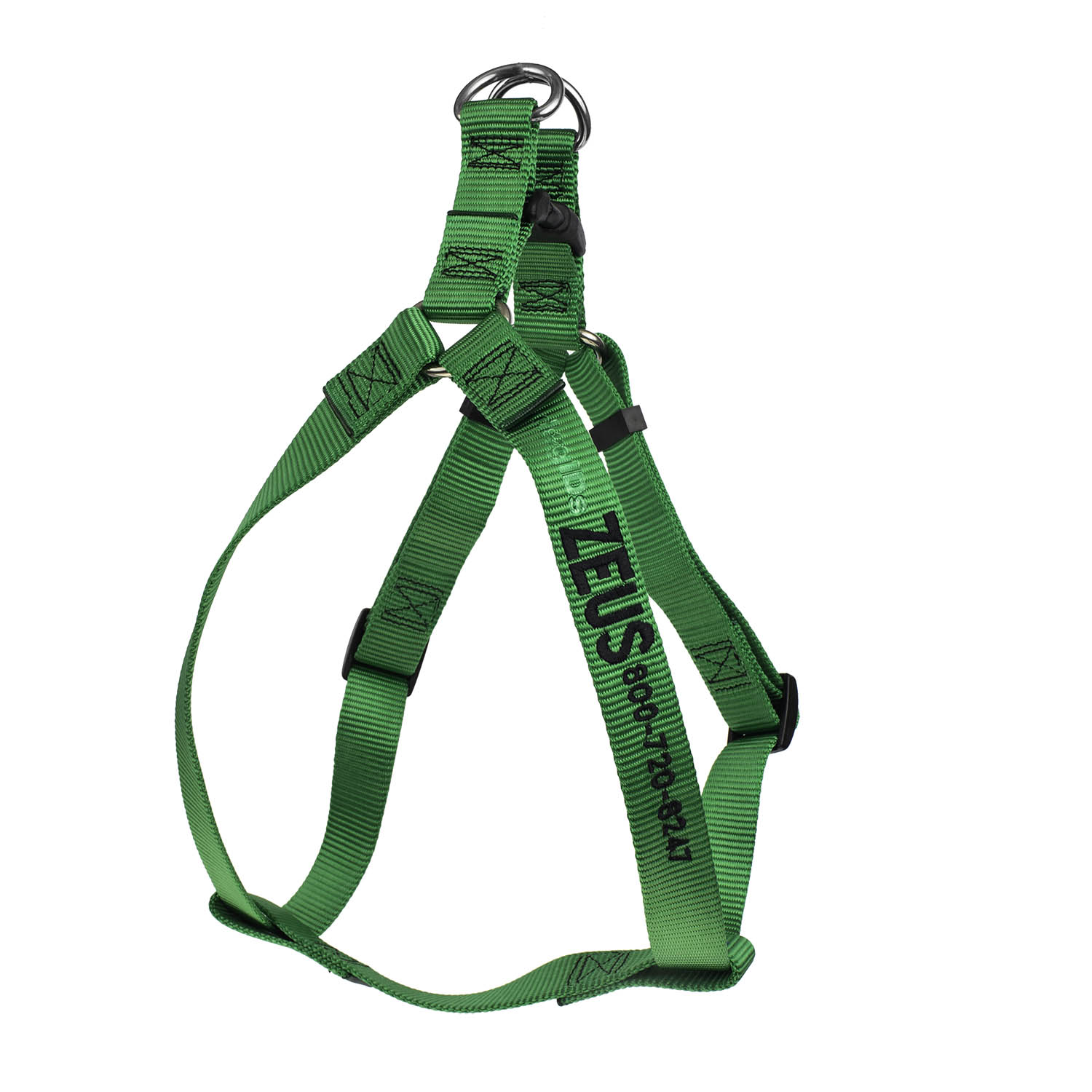 Embroidered Nylon Step-In Dog Harness Kelly Green