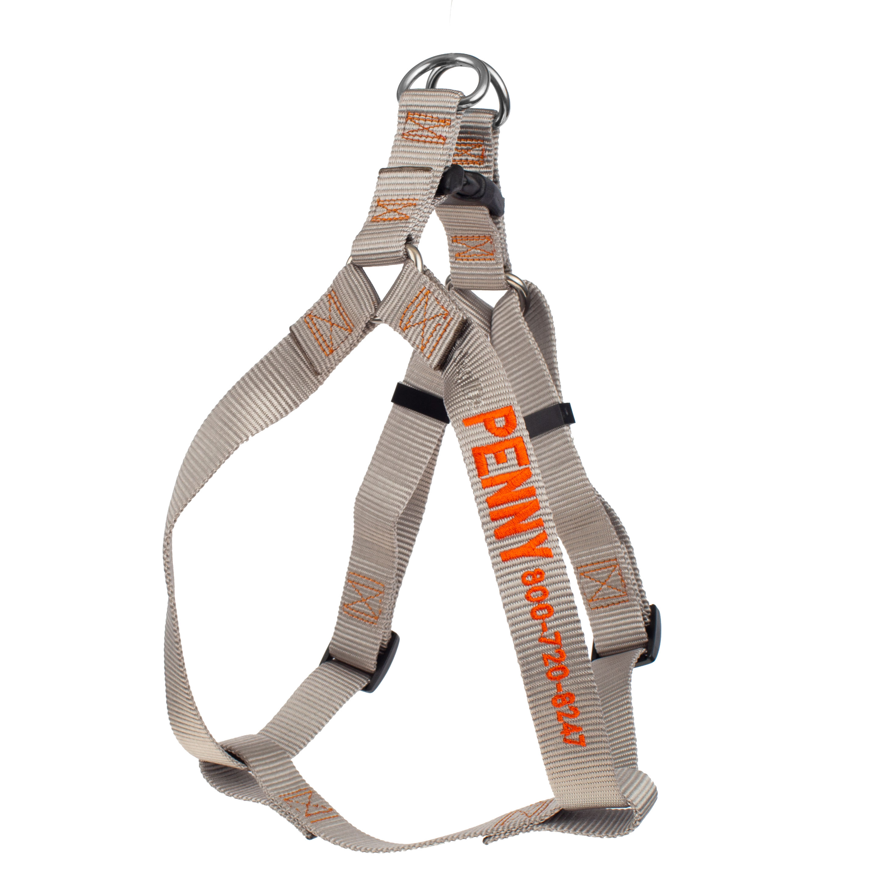 Embroidered Nylon Step-In Dog Harness Silver