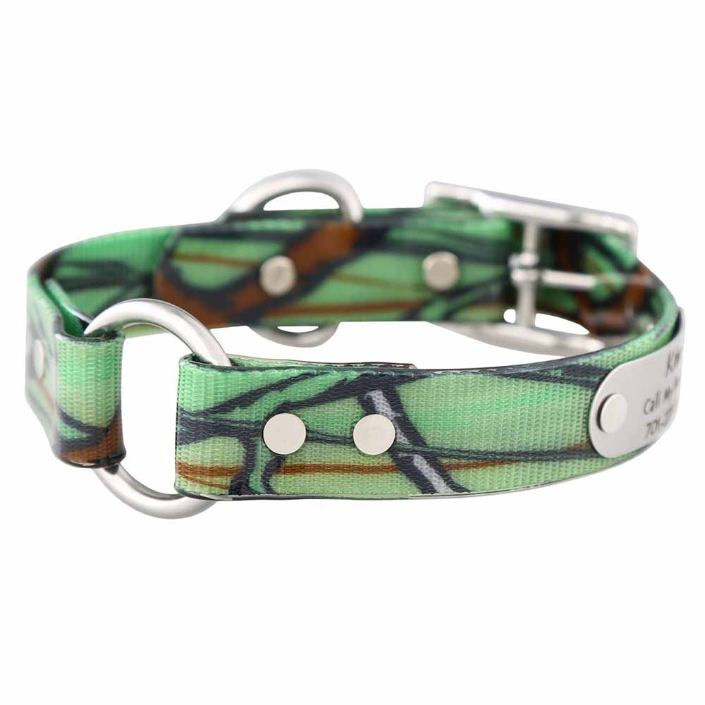 Personalized Waterproof Camouflage Safety Collar Green Camo