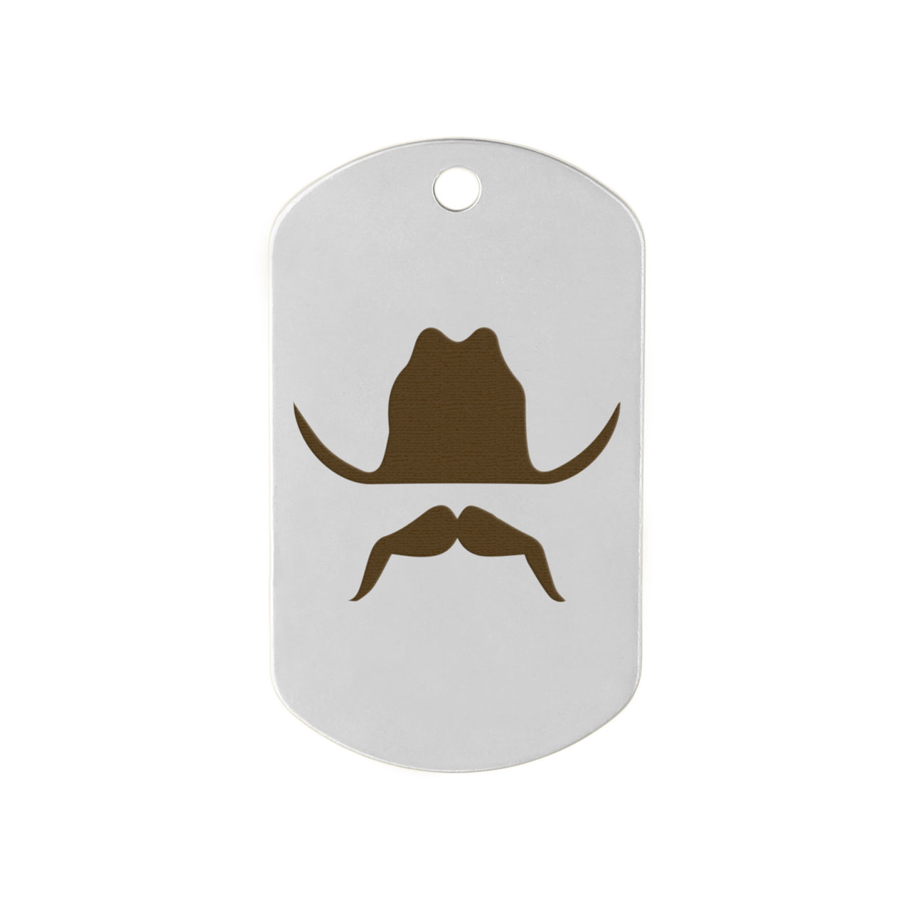 Mustache Design Dog Tags - Cowboy Mustache on Stainless Steel