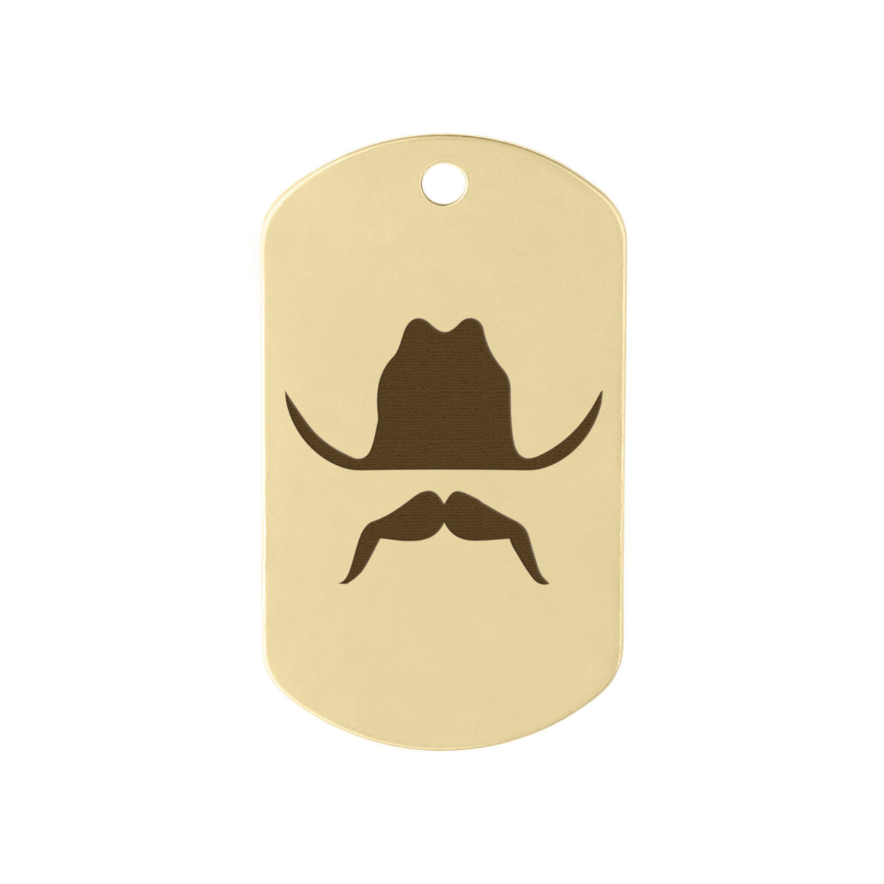 Mustache Design Dog Tags - Cowboy Mustache on Brass