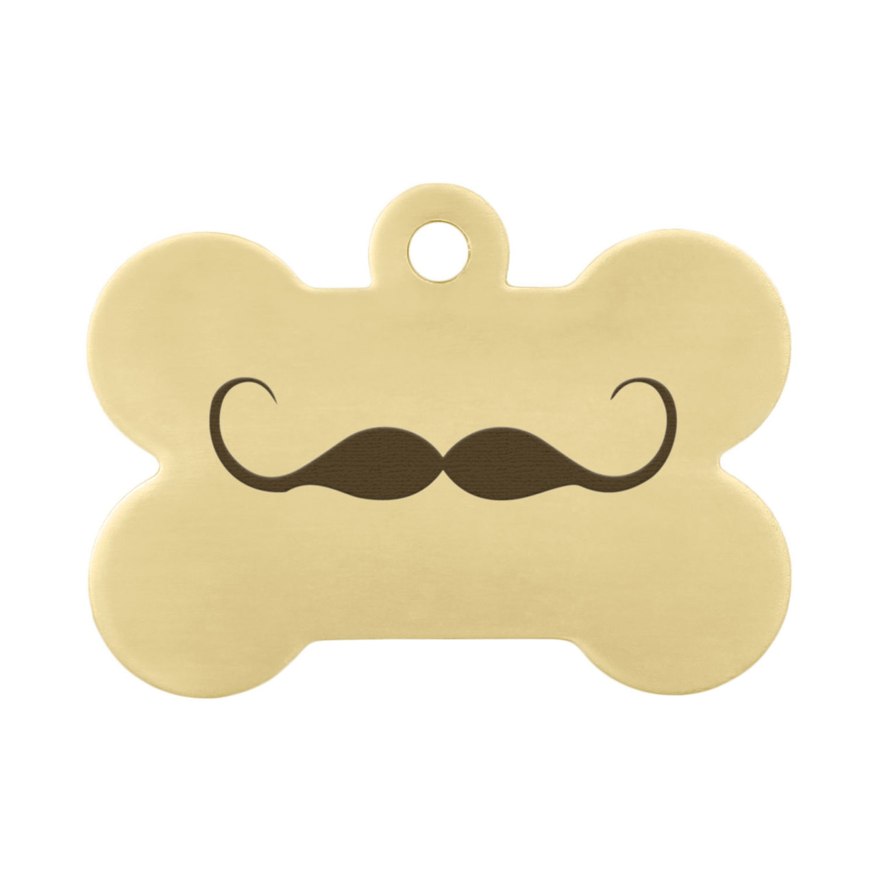 Mustache Design Dog Tags - Mustache on Brass
