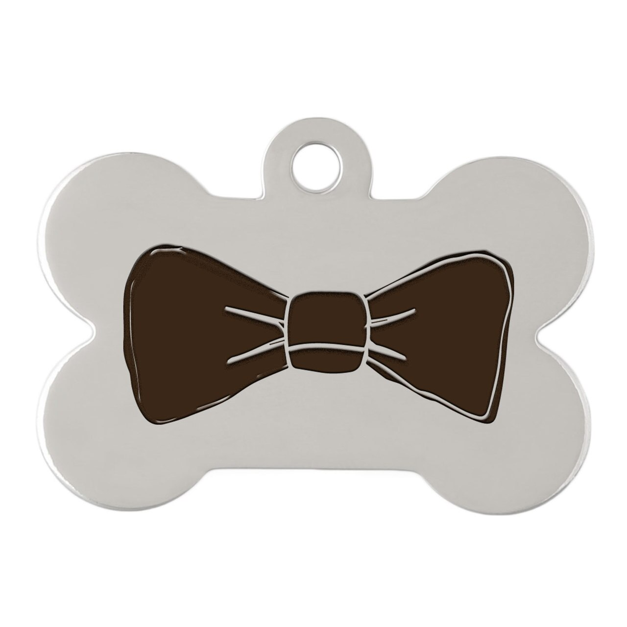 dogIDs Signature Fancy Suit and Tie Dog ID Tags Bow Tie Silver