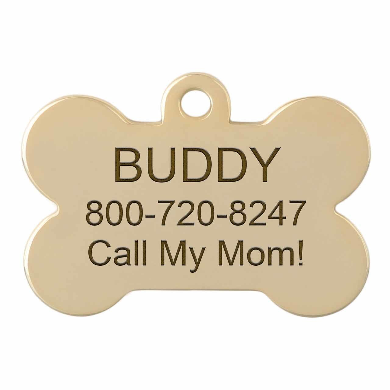 dogIDs Signature Fancy Suit and Tie Dog ID Tags Engraved Bone Gold