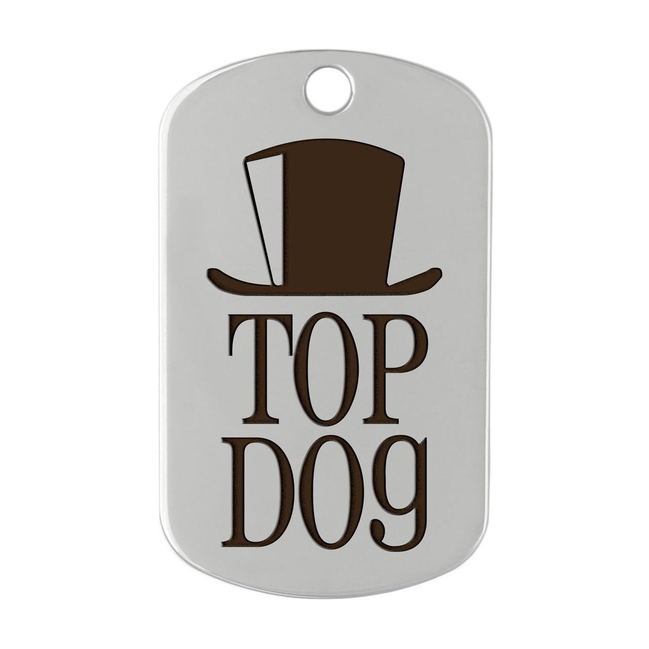dogIDs Signature Fancy Suit and Tie Dog ID Tags Top Hat Silver