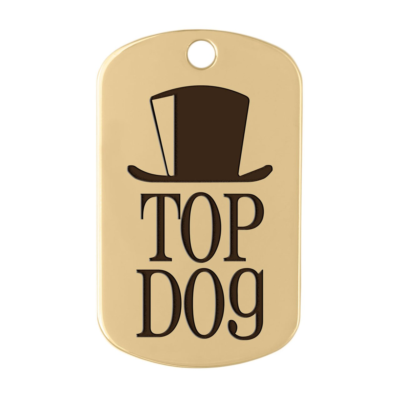 dogIDs Signature Fancy Suit and Tie Dog ID Tags Top Hat Gold