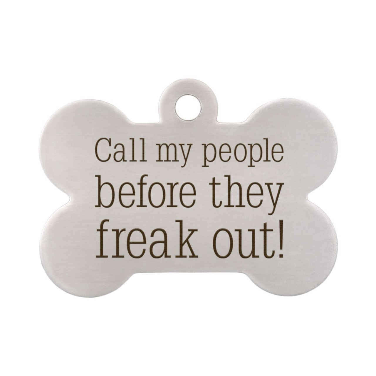 Call My People Pet ID Tag - Front Of Bone Tag No Phone