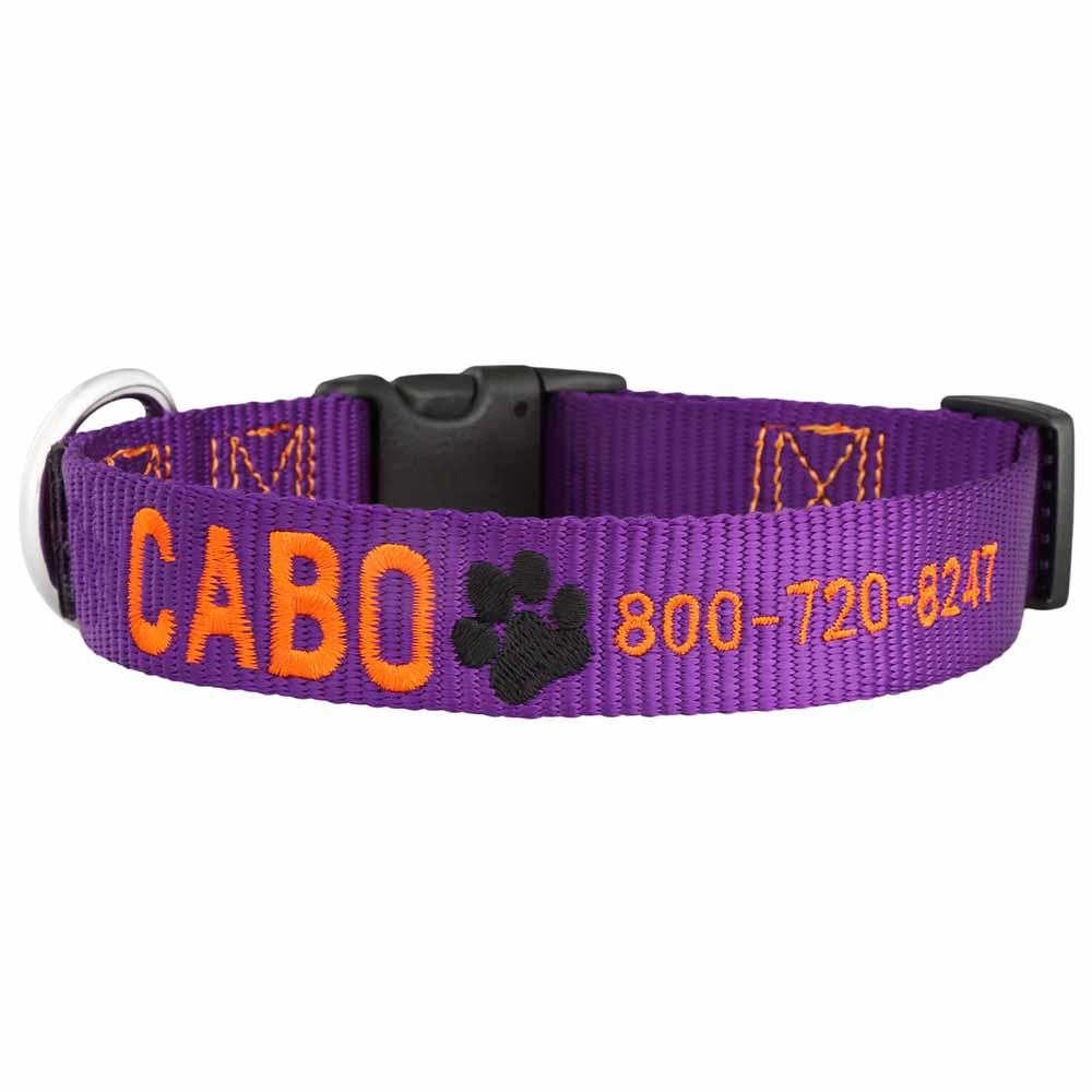 Signature Design Embroidered Nylon Dog Collar Purple Orange