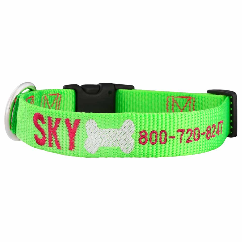 Signature Design Embroidered Nylon Dog Collar Lime Green Hot Pink