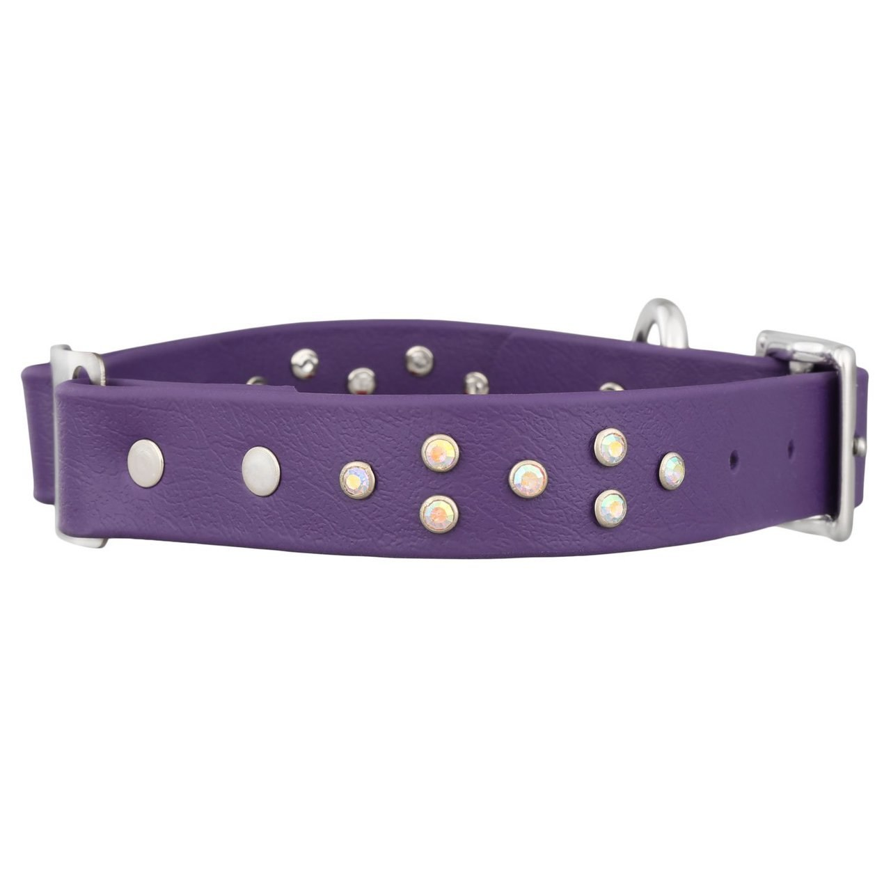 Personalized Jewel Series Soft Grip ScruffTag Dog Collar Purple with Multicolor Diamond