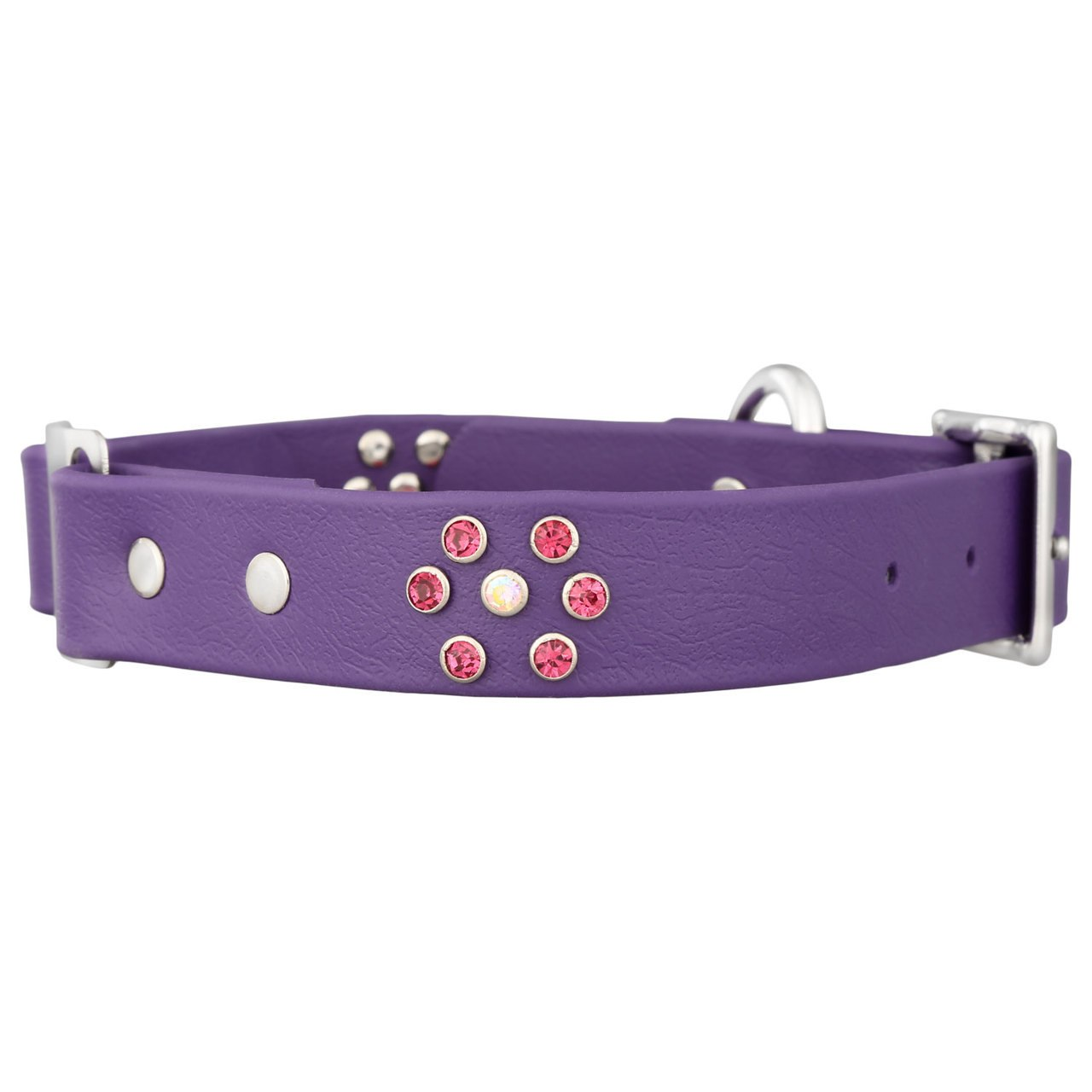 Personalized Jewel Series Soft Grip ScruffTag Dog Collar Purple with Pink Flower