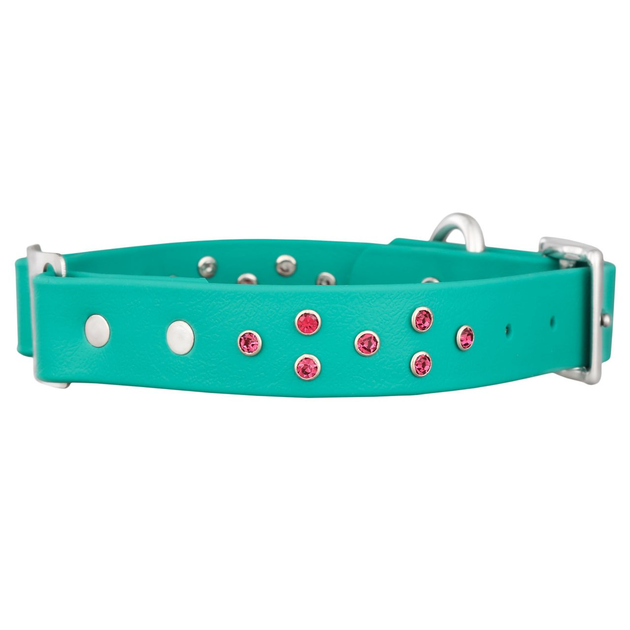 Personalized Jewel Series Soft Grip ScruffTag Dog Collar Teal with Pink Diamond