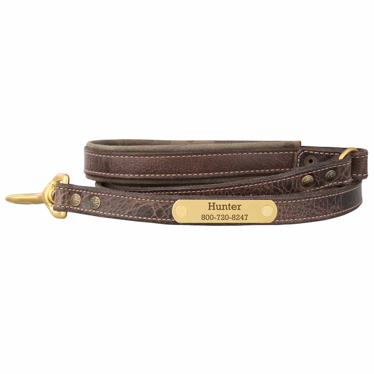 worn brown custom dog leash