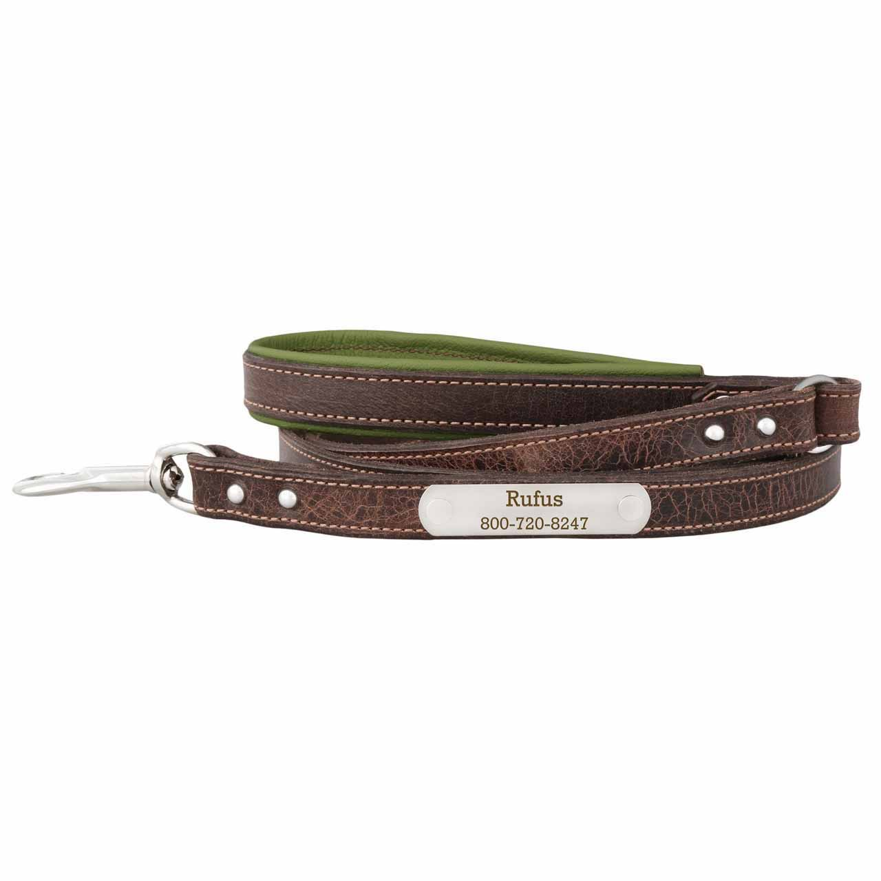 Orion Artisan Leather Personalized Leash Avocado Green